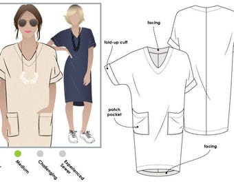PRINTSHOP PATTERN (not tiled) - Adeline Dress - Sizes 16, 18 and 20 - Women's Pull On Dress - Style Arc PDF Sewing Pattern