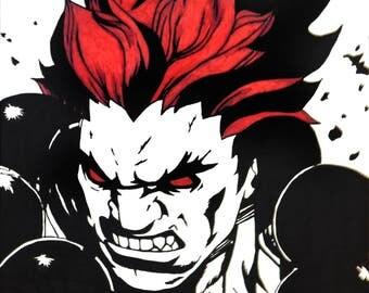 Street Fighter Akuma 16 x 20 marker canvas art