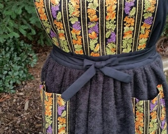 Handmade Purple, Orange, Black and Gold Grape Print Bib Apron with Black Terrycloth Skirt and Coordinating Pockets - FREE SHIPPING