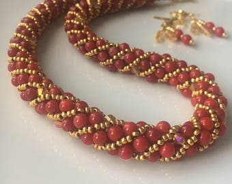 Red coral necklace red stone necklace beadwoven beaded necklace jewelry set red beaded necklace coral stone jewelry 14k gold fill