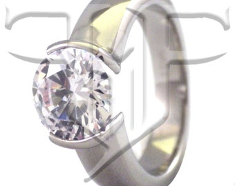 Solitaire Ring   Womens Stainless Steel Crystal Tension Solitaire Ring   Tension Set Ring   Simulated Solitaire