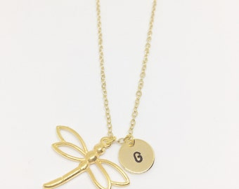 Gold Plated Dragonfly Necklace - Optional Extra Personalised Initial Disc