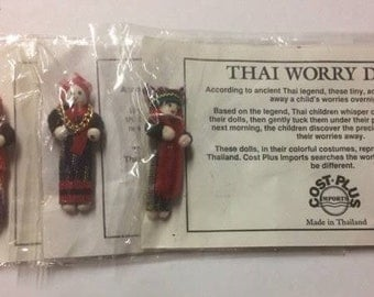 Vintage Miniature Thai Worry Dolls (Set of 3)