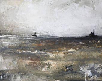 Original abstract painting ocean  seascape modern contemporary acrylic art livingroom decor 'Leverage'