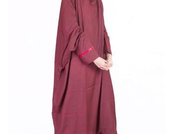 Burgundy One Piece Prayer Dress, Musim Prayer Dress