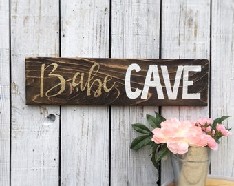 Babe Cave Reclaimed Wood Sign Hand Lettered Gold White Script Shabby Chic Sign Girls Room Chic Cave Distressed Wood
