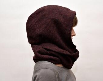 Plum tweed Hooded Scarf / hat / cowl / neckwarmer