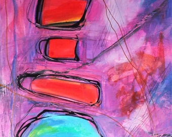 J. Taylor Abstract art Original painting on paper, modern contemporary art, purple red blue, expressionist colourful hand painted artwork