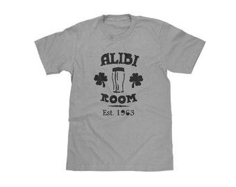 Men's Alibi Room Shirt from Shameless, Black Shamrocks and Black Ink on Grey Crew Neck,Vintage Style, Anniversary Gift for Men, Husband