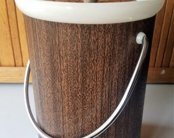 Vintage Kromex Faux Wood Wrapped Ice Bucket