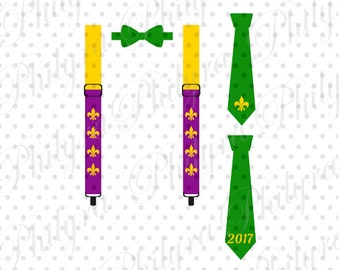 Suspenders and Bowtie Mardi Gras, Tie Mardi Gras Svg, Boy Mardi Gras Svg, Digital Cutting File DXF