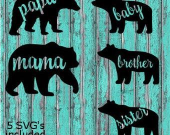 Mama Bear Family SVG bundle