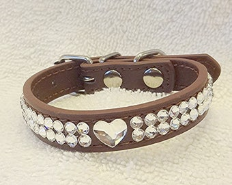 Swarovski Rhinestones Dog or Cat Collar, Crystal Heart Bling Pet Collar, XXS Brown Collar, Puppy or Kitten Collar