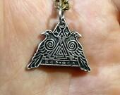 Viking pendant, Odin's ravens and symbols