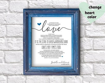 Unique Wedding Gift for Couple, Bride or Groom, Anniversary, Valentines Day - Shakespeare Sonnet 116 Print - Printable Wall Art Download
