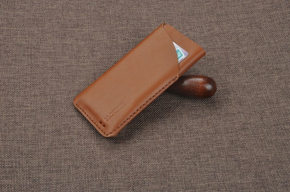 Handmade genuine leather sleeve cover case with card holder for  One plus one two three