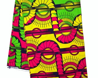 African print fabric sold by yard/ multicolor Ankara fabric/ African Fabric Shop/ African Supplies for dress/ bright african fabric pink