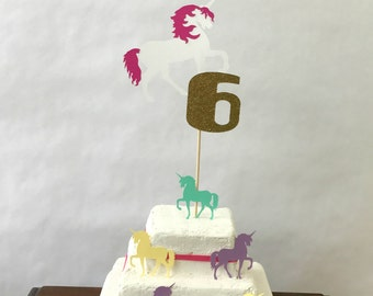 Unicorn Cake Topper - pastel - rainbow party - age topper - party supplies - cake decorations