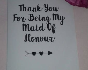 Thank you For Being My Maid Of Honour Card, Wedding Cards, Bridal Party, Bridesmaid Card, Flower Girl Card, Matron Of Honour Card, Marriage