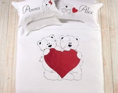 Hand Painted Bears In Love bedding set, queen and king size romantic gift cotton anniversary gift for couple wedding gift second anniversary