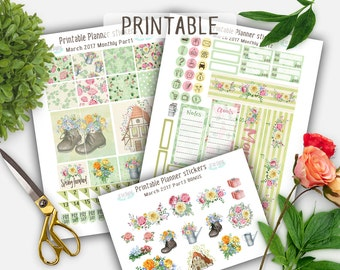 Monthly planner Stickers, March Planner Stickers, Spring Planner Stickers , Erin Condren Planner Stickers, Printable Stickers, Floral Kit