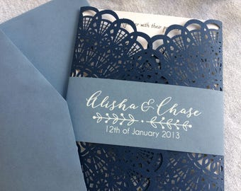 80 elegant vintage two tone navy and dusty blue laser cut wedding invitations , slate blue weddding invites , navy and grey , serenity blue