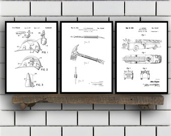 Fire fighter Patent Prints, Fire fighter Set of THREE, vintage Firefighter Invention Patent, Firefighter Poster, Firefighter Print