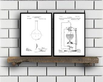Chemistry Patents Set of 2 Prints, Chemistry Prints, Chemistry Posters, Chemistry Blueprints, Chemistry Art, Chemistry Wall Art, Sp307