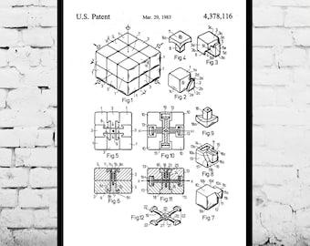Patent Print - Rubik's Cube Patent Art Poster, Rubik's Cube art, Rubik's Cube poster, Rubik's Cube Print