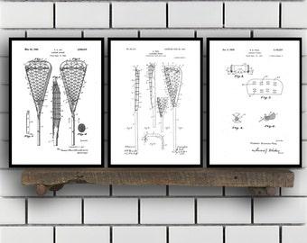 Lacrosse Patents Set of 3 Prints, Lacrosse Prints, Lacrosse Posters, Lacrosse Blueprints, Lacrosse Art, Badminton Wall Art, Sports, Sp447