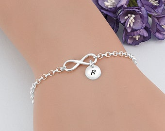 Infinity Initial Bracelet, Sterling Silver Friendship Bracelet, Infinity Bracelet, Personalized Bridesmaid Bracelet, Initial Bracelet