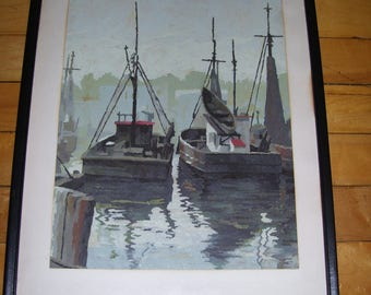 Fishing Boat Painting Original Framed With Glass 12.75x16.75 Vintage