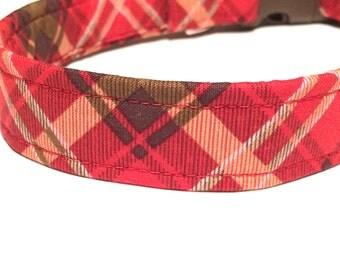 Blazing Plaid Dog Collar ~ Boy Dog Collar ~ Matching Leash Available