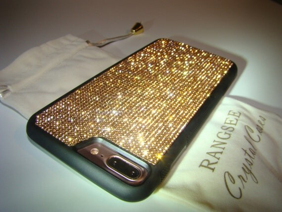 iPhone 7 Plus Case Rose Gold Rhinestone Crystals on Black Rubber Case. Velvet/Silk Pouch Bag Included, Genuine Rangsee Crystal Cases.