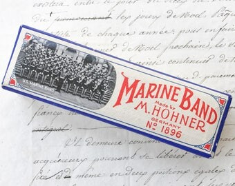 Antique M. Hohner Marine Band Harmonica No. 1896 Key C Harmonica Original Box Diatonic Harp Vintage Musical Instrument WWII Era Blues Music