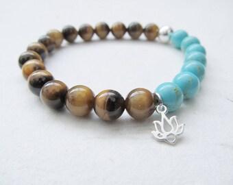 Lotus bracelet, gemstone bracelet, yoga bracelet, turquoise bracelet, tiger eye bracelet