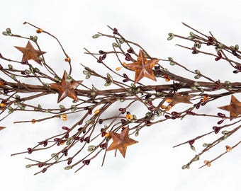 Green, Burgundy and Mustard Pip Berry Garland with Rusty Stars-Primitive  Berry Garland-Americana Decor Primitive Decor -Free Shipping