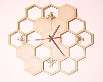 Wooden wall clock  - HONEYCOMB