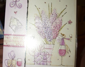 Happy 65th Birthday Card  Fairy having a glass of wine. flowers and a present