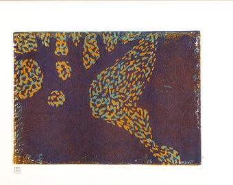 Linocut three colors