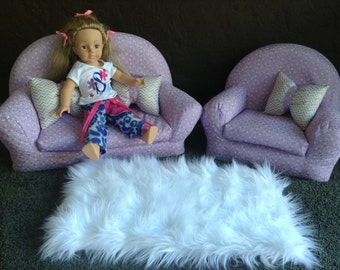 American Girl Furniture, 18 inch Doll furniture, Chair and Couch, Doll house furniture, Living room Furniture