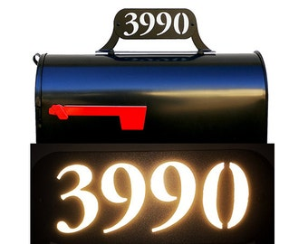 Mailbox Topper with Reflective Numbers - Different Size Options