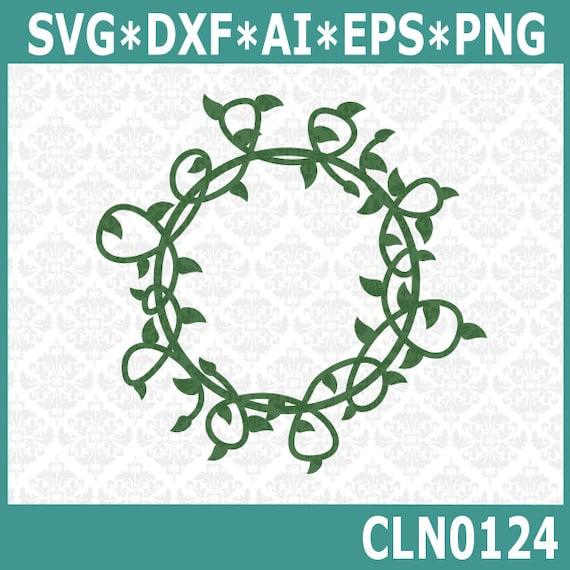 CLN0124 Vine Monogram Wrap Circle Leaves Plant Vineyard SVG DXF Ai Eps PNG Vector Instant Download Commercial Cut File Cricut Silhouette