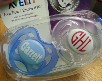 FREE SHIPPING   Monogram Pacifier Decals   Personalized Name Decal   Personalized Pacifier Decal   Baby Shower Gift   Monogrammed Pacifier
