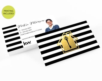 Gold Real Estate Printed Business Cards - business cards,business card design,custom business card,cards,printing,striped,keller williams