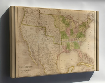 Canvas 24x36; 1839 Map Of The United States Of America