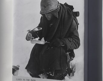 Canvas 16x24; American G.I. 26Th Division Has His Lunch In The Snow Wwii