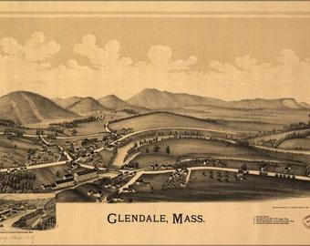 16x24 Poster; Map Of Glendale, Massachusetts 1890