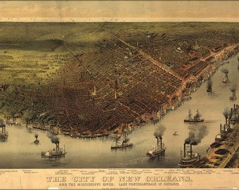 16x24 Poster; Map Of New Orleans & Mississippi River 1885