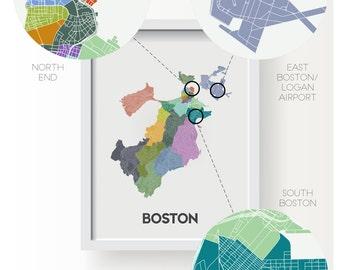 BOSTON City Limit Neighborhood Map Print - graphic drawing art poster Massachusetts